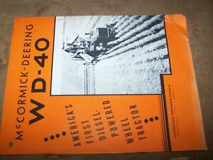 Vtg 1930's McCormick-Deering WD-40 Tractor Brochure Booklet