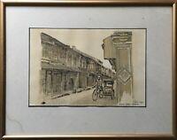 Watercolour 1 Melaka Malacca Malakka Heeren Street Rickshaw Driver - 12 5/8X16