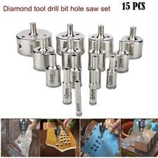 15pcs Diamond tool drill bit hole saw set for glass ceramic marble 6-50mm pro