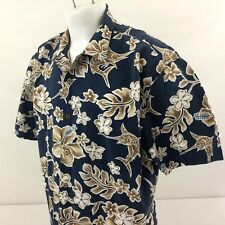 Bluewater Wear Hawaiian Aloha Shirt XL Blue Gold Floral Marlin Cotton USA Made