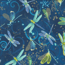Aqua Dragonflies on Blue with Metallic Gold Quilting Fabric FQ or Metre *New*