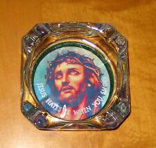 Kitschy JESUS HATES IT WHEN YOU SMOKE Heavy Glass Ashtray Religious Christ Lord