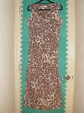 Ladies Size 12 Mocha Mix Batik Effect Silky-Feel Long Dress by Berkertex