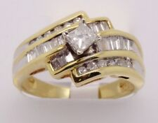 14k YELLOW GOLD PRICESS CUT DIAMOND ENGAGEMENT RING, CHANNEL SETTING