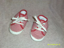 Vintage Baby Shoes*Red/White Gingham Checked*White Textured Sole*Collectible