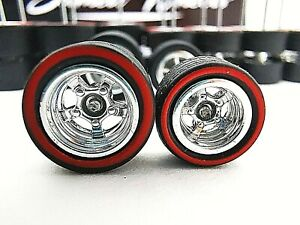 10 set 10-12mm CHROME RED LINE Samed Wheels 5 bolt 1:64 rubber wheels #57