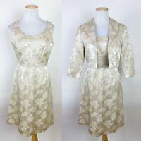 *FLAWS* VTG Floral Satin Jacquard Dress 6P 50s Style Cream Metallic Gold Jacket