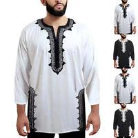 Mens 3/4 Sleeve Formal Party Shirt V Neck Loose Soft Dress African Ethnic Kaftan