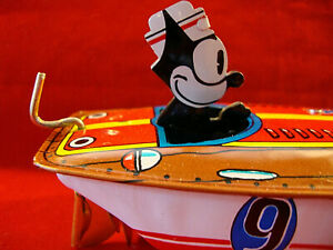 Tin Litho Schylling Wind-Up Metal FELIX THE CAT Speedboat -The Sea Cat -1996