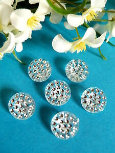"""422B/Lovely Buttons """" Crystal Star """" Transparent And Silver Set Of 6 Buttons"""