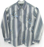 7 diamonds Mens Size XL Blue Striped Long Sleeve Cotton Pearl Snap Front Shirt