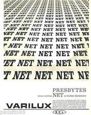 PUBLICITE ADVERTISING 085  1962  les verres de lunettes VARILUX