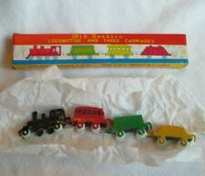 Vintage TOY TRAIN Locomotive and Three Carriages Metal Miniature Original Box