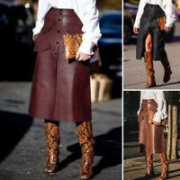 Mode Femme Jupe en cuir Casual en vrac Loose Bouton Fendu Ajustement mince Robe