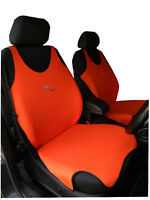 2 ORANGE FRONT VEST CAR SEAT COVERS PROTECTORS FOR TOYOTA AYGO