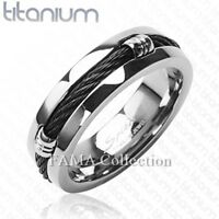 Top Quality FAMA Solid TITANIUM with Black Cable Chain Design Ring Size 9-14