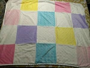 Circo Pink Blue Yellow Purple & White Minky Dot Patchwork Squares Baby Blanket