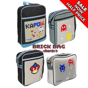 BRICK BAG kids sport satchel pixel bricks supplied  (compatible with lego)