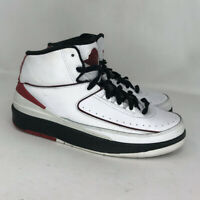 Nike Boys Air Jordan 2 Retro 395718-101 White Black Red Sneaker Shoes Size 7Y