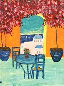 """ Santorini Morning"" Original Painting- De Martino Art"