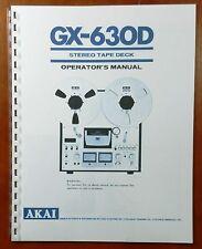 Akai Gx-630D Reel to Reel Tape Deck Owners Manual