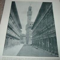 1892 Antique Print UFFIZI BUILDINGS FLORENCE ITALY Gallery Vecchio Palace