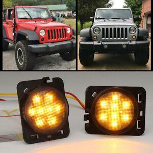 Pair Front Fender LED Side Marker Light Smoke Lens for 2007-18 Jeep Wrangler JK