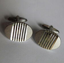 Oval West German cufflinks Ascot Grille pattern vintage 1970s 1980s mens gift