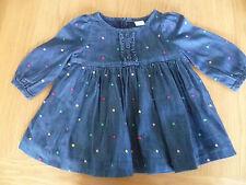 GAP 6-12 MONTHS BABY GIRLS SUPER SOFT NAVY BLUE DENIM LONG SLEEVE DRESS LINED