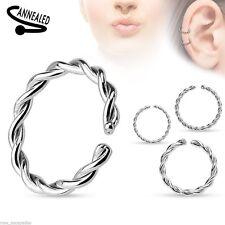 """Nose Hoop Split Ring Annealed 20 Gauge 5/16"""" Braided Steel Body Jewelry"""