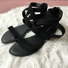 NEW Boohoo Black Faux Suede Strappy Zip Beach Summer Sandals Shoes UK 7 EU 40