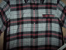 NWT DKNY Gray/Black/Red/White COZY PLAID Button-Front Sleep Shirt Gown S POCKETS