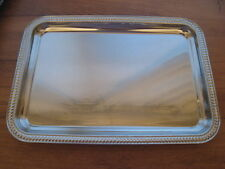 "RECTANGULAR CHROME TRAY W/ DECORATIVE EDGE 11"" x 7 1/2"" x 5/8"""
