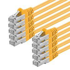10 x 1m CAT.5e F/UTP Kabel geschirmt gelb Patchkabel LAN DSL Netzwerk Ethernet