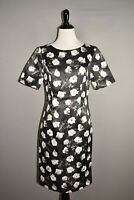BROOKS BROTHERS $148 Black Floral Sateen Short Sleeve Dress Size 2