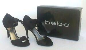 Bebe Black Leather Stiletto Women Heel Sz 8 Ankle Ribbon Tie Style Amanda Satin
