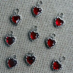 Red Heart Gem Metallic with Crystal Dog Collar Charm Bark Avenue Designs