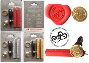 Wedding Love Hearts Wax Stamp Seal STARTER KIT +2 Melting Wax Sticks KIT+XWSC071