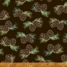 Home Sweet Cabin Pine Cones Sprigs Toss Brown Cotton Fabric Windham By The Yard