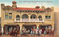 Fire Department Headquarters SAN JOSE, CA Fire Engines c1910s Vintage Postcard