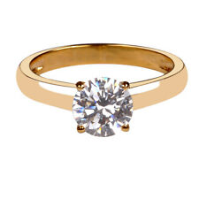 Real 14KT Yellow Gold Round Shape 2.00 Carat Solitaire Women's Anniversary Ring