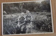 Photograph WW2 Two Soldiers in Tropical Kit on leave South Africa 5.5 inch x 3.5