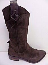 STUDIO POLLINI women's cowboy boots brown suede Size UK 4 line dancing