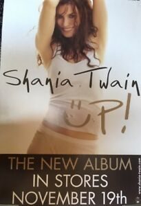 "BRAND NEW ORIGINAL JUMBO SHANIA TWAIN UP POSTER 26"" x 24"""