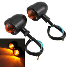 2x 12V Black Motorcycle Turn Signals Mini Bullet Blinker Indicator Amber Lights