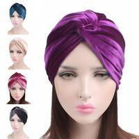Women's Velvet Turban Head Wrap Chemo Hats Cap Headwear Soft Hair Wraps Bandana
