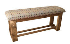 Wooden Upholstered Hallway/Dining Table Bench - Multispot Natural Fabric