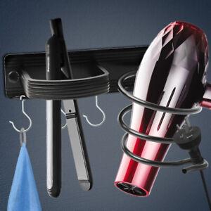 Metal Wall Mount Hair Dryer Holder Cupboard Straighteners Storage Stand Rack
