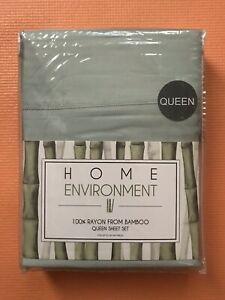 NWT Home Environment 100% Rayon From Bamboo Queen Sheet Set MSRP $375 Green 4 Pc