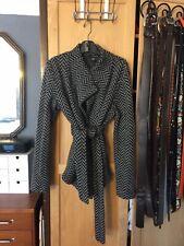 Willi Smith Black & Gray Herringbone Wool Belted Cardigan L